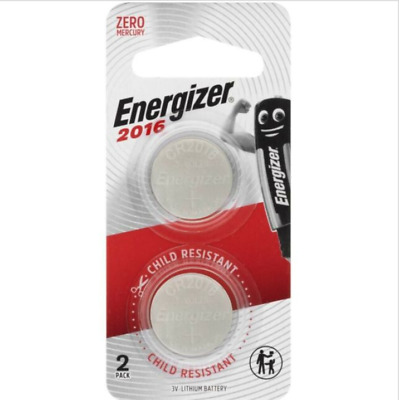 Energizer 2016 - 2 PACK 3V Lithium Coin/Button Cell Batteries  Zero Mercury