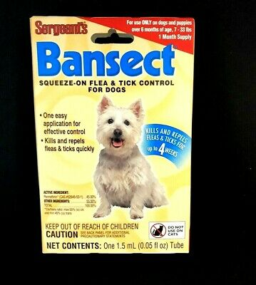 NEW Sergeants Bansect Flea Tick Control SMALL Dogs for  7-33 lbs dogs - 1 MONTH