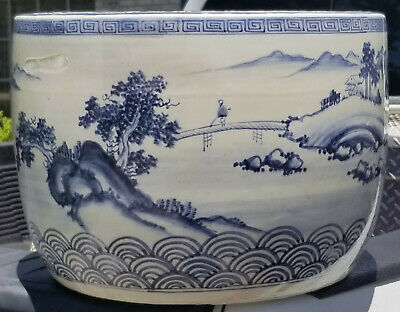 Chinese Porcelain Blue And White Fish Bowl Planter