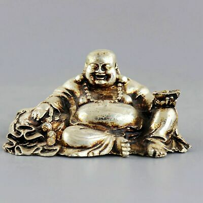 China Tibet Silver Carve Smile Buddha Hand Hold Wealth Moral Auspicious Statue