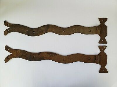 Antique Vintage Wrought Iron Gate Barn Door Hinge Pair Hammered Medieval Style