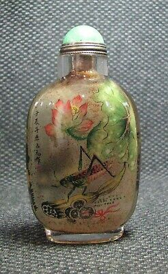 Chinese Glass Delicate Inside-drawing Grasshopper Lotus root Snuff Bottle==--