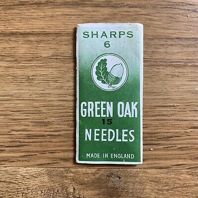 Vintage Booklet Of Green Oak Needles Made In England Sewing Crafting