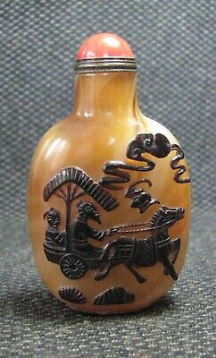 Chinese Glass Delicate Carve Take A Carriage Snuff Bottle==--