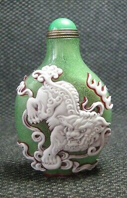 Chinese Glass Delicate Carve Lions Snuff Bottle==--