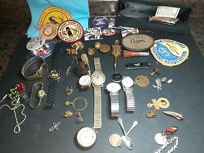 Huge Vintage Junk Drawer Lot Jewelry Watches Coins 1895 Indian Head Penny Knife