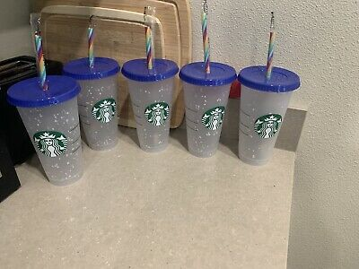 x10 Starbucks Confetti Color Changing Cups  Rainbow Straw Pride Summer 2020