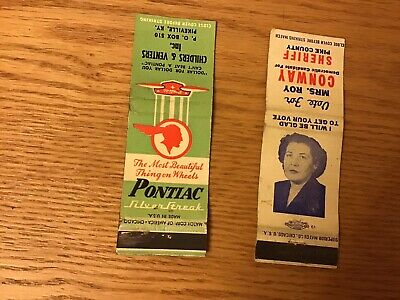 Vintage Matchbook Covers Pontiac Candidate For Sheriff Pikeville Ky Lot Of 2