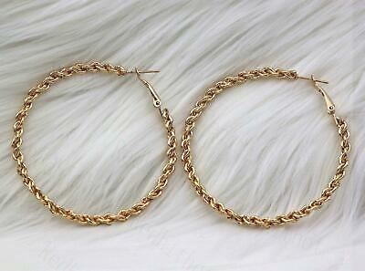 """18K Gold Filled 2.4"""" Earrings Big Circle Loops Chains Linked Hollow Clip-On RE"""