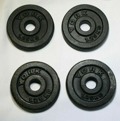 """York Weights 1.25Kg x4 Metal Cast Iron For Barbell Dumbbell 1"""""""
