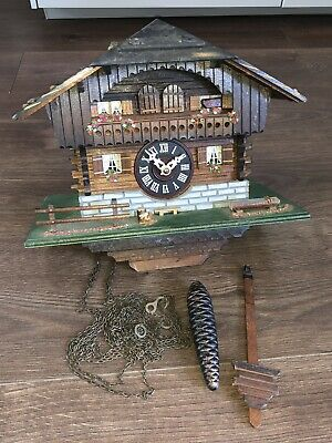 VINTAGE SWISS MUSICAL CUCKOO CLOCK - 2x CUCKOOS - CUENDET LARAS THEME - PROJECT