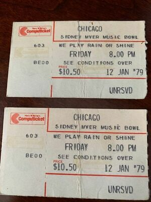 TWO CHICAGO the band Concert Ticket stubs Australia 1979  Lamm, Pankow, Cetera