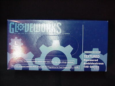 Ammex GLOVEWORKS Industrial Latex Powered Gloves Large / Box Of 100