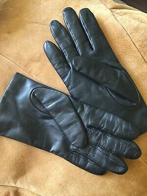 Women's Fownes Black Genuine Leather Driving Gloves Size 8. 100% Cashmere Lining