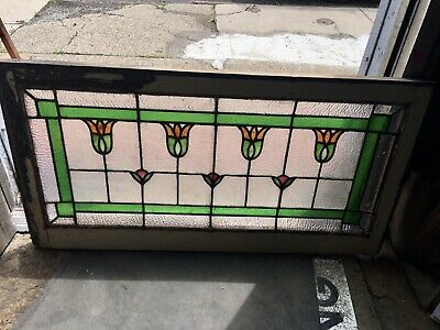 Incredible Arts And Crafts Style American Tulip Pattern Leaded Glass Window