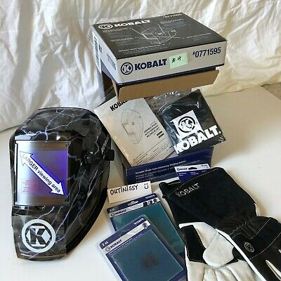 Kobalt - Auto Darkening Welding Helmet - Large Viewing area LOT Gloves & Lenses