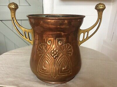Signed WMF Art Nouveau Hammered Copper Brass Champagne Ice Bucket Wine Cooler