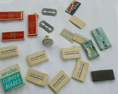 LOT Vintage Safety Razor Blades & Boxes Smith Andis Clipper Heljestrand Gillette