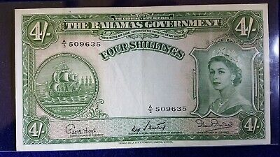 1954 BAHAMAS GOVERNMENT 4 Shillings Banknote S/N A3 509635 ~ CRISP SHARP CORNERS