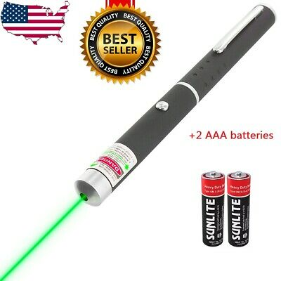 High Power 5mw Green Laser Pointer Pen Visible Beam Light with batteries