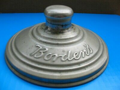 Vintage Borden's Script Metal Lid For Glass Malted Milk Container