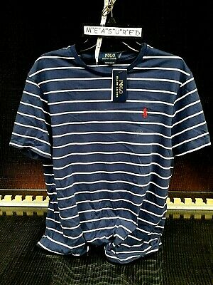 NWT$40 Mens LARGE POLO Ralph Lauren Custom Slim Fit Polo Shirt Top Stripe Cotton