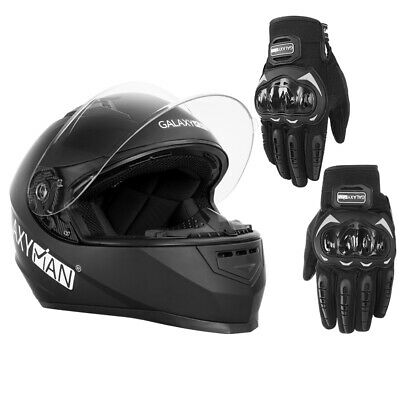 Safety Motorcycle Full Face Helmet Street Motorbike Helmets Racing + PAIR GLOVES