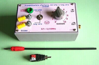 amplificatore antenna filare/mini Whip Low-Noise 0,1>50MHz mod.RX39-A.