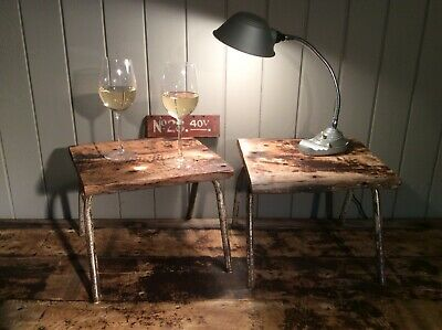 Vintage Low stool side table industrial antique mid century rustic plant stand