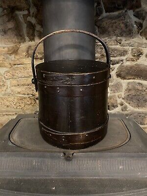 Antique Black Firkin Bucket With Lid And Handle