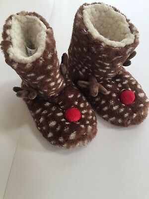 Marks And Spencer Slippers Size 5 Reindeer Boys Girls Leisure Wear