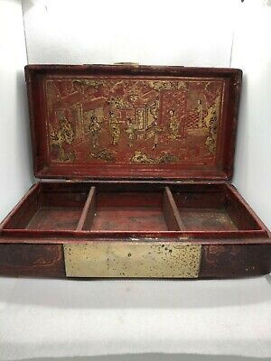 Stunning antique chinese cantonese wooden & Gold ornate box 19th Qing
