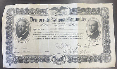 1928 Democratic National Committee Campaign Fund Certificate