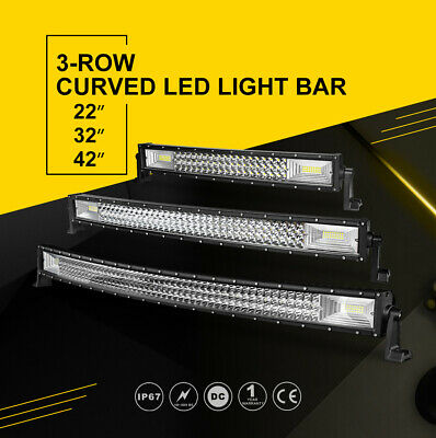 22in 32in 42in Tri Row Curved LED Light Bar Fog Offroad Flood Spot SUV Truck 4WD
