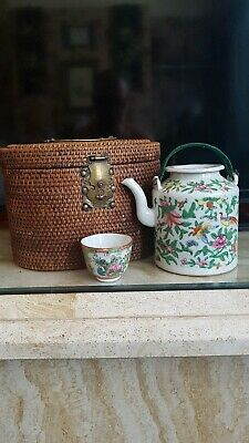 Antique Chinese Cased Famille Rose Teapot & Cup 19Th C.