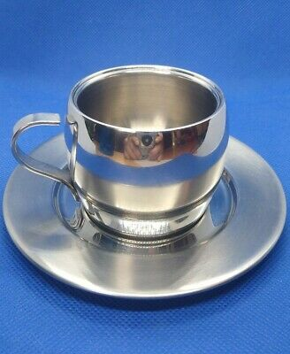 Double Wall Stainless Steel Drinking Coffee Cup Set Espresso Cup Mug /&Spoon/&Sauc