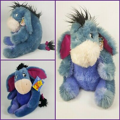 "Disney Store Winnie the Pooh Eeyore Plush Fluffy 18"" & Smaller Soft Toy Bundle"
