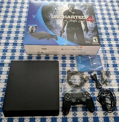 Sony Playstation 4 Slim Console 500gb - Black w controller, cables, works perfec