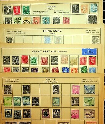 438 Worldwide Collection Of Stamps On Funky Old Album Pages. All Used And Mounte