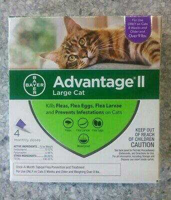 Genuine Bayer Advantage Ii Flea Control For Cats Over 9 Lbs - New 4 Pack