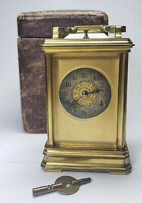 Antique French Carriage Clock Repeater w/ Leather Case & Key Beveled Glass