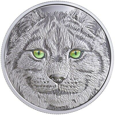 CANADA $15 2017 Silver Proof 'In The Eyes of of the Lynx' Glow-in-Dark