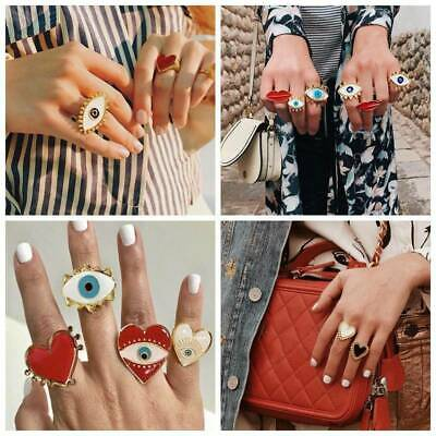 Evil Eyes Lips Heart Big Charms Adjustable Finger Rings Women Statement Jewelry