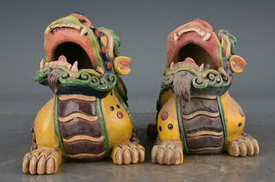 "5"" Old Chinese Wucai Porcelain Palace Foo Dog Lion Beast Statue Pair"