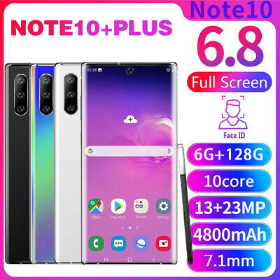 NOTE10+Plus 6.8''  Unlocked Smartphone 6+128G Android HD Dual SIM Mobile 4G
