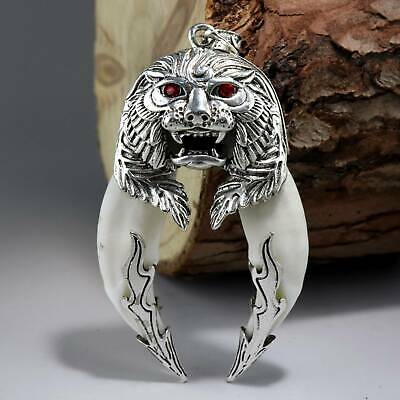 Collect China Unique Miao Silver Inlay Wolf Tooth Carve Roar Lion Fine Pendant