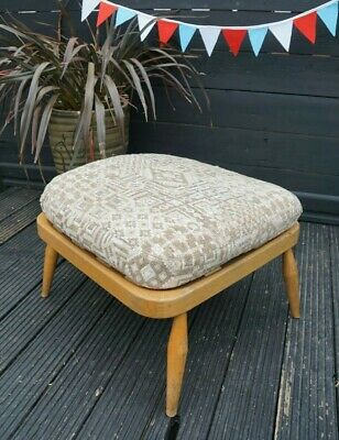 Vintage Ercol blond Mid Century Footstool Pouffe Foot Stool windsor chair P&P