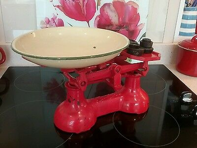 Vintage Antique Red Cast Iron Metal Kitchen Scales with Weights. Cottage style.