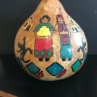 Large Hand Painted Gourd Vintage Pueblo Style