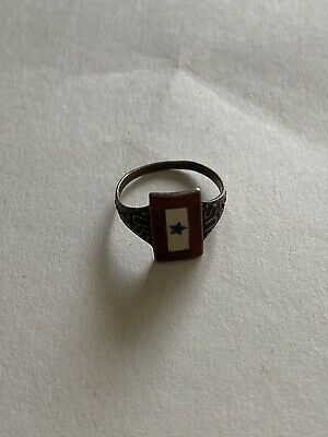 Rare Sterling Silver World War II Sons Of Service JMF Co. Blue Star Ring